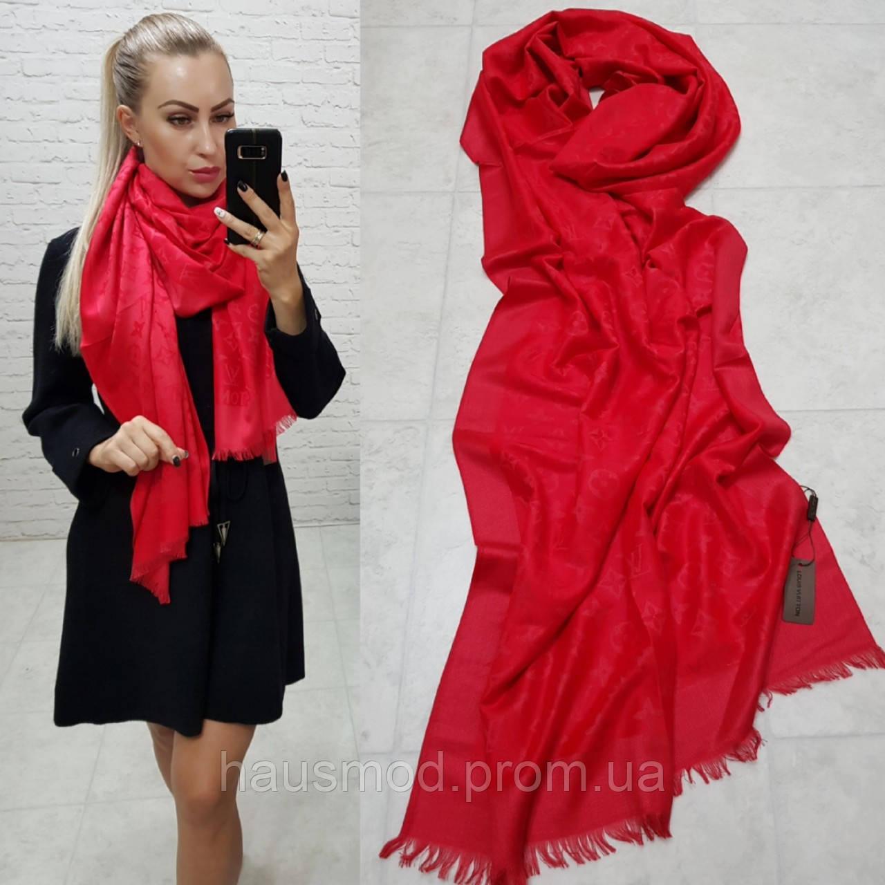 Женский палантин шарф брендовый репликаLouis Vuitton65% шелк 35% кашемир размер 190×0.70 см цвет красный