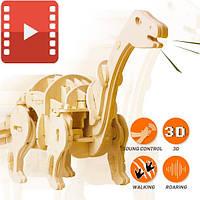 Деревянный 3D пазл «Мини Апатозаурус», управление звуком.Robotime
