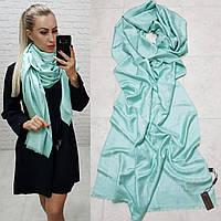 Женский палантин шарф брендовый репликаLouis Vuitton65% шелк 35% кашемир размер 190×0.70 см цвет ментол, фото 1