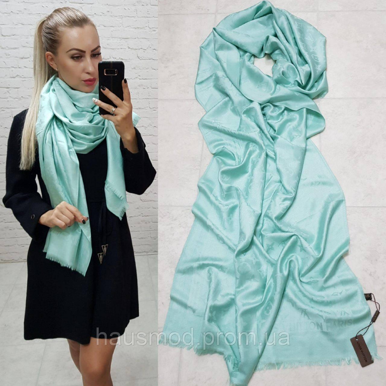 Женский палантин шарф брендовый репликаLouis Vuitton65% шелк 35% кашемир размер 190×0.70 см цвет ментол