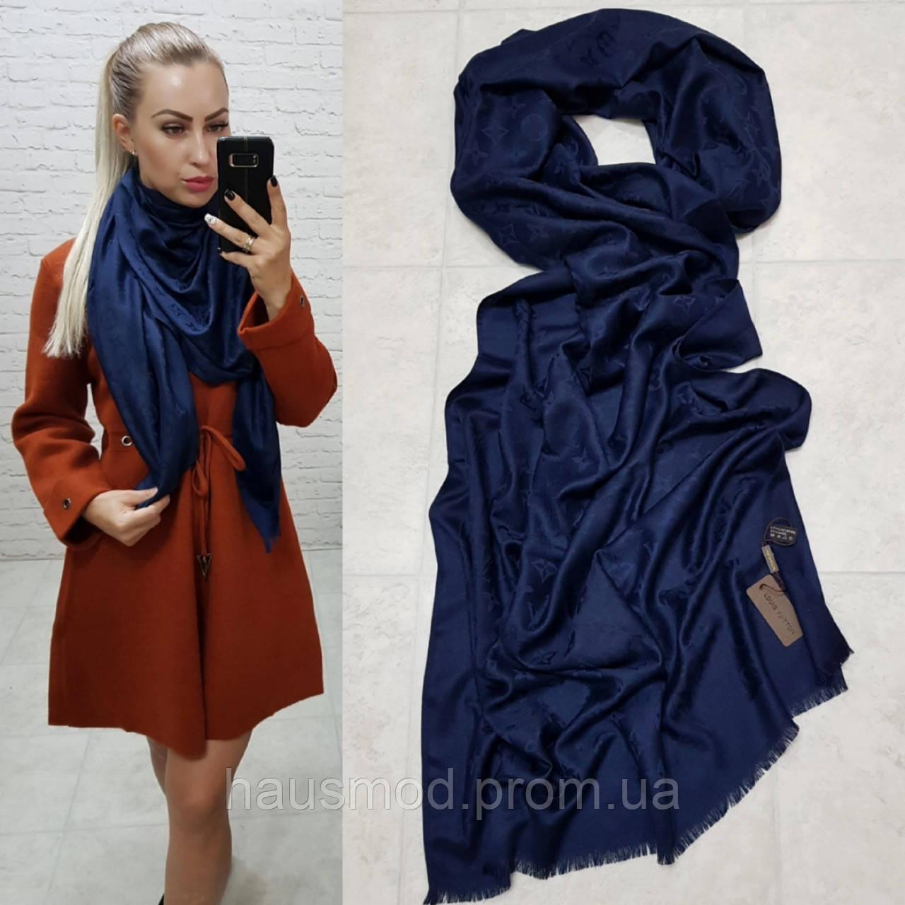 Женский палантин шарф брендовый репликаLouis Vuitton65% шелк 35% кашемир размер 190×0.70 см цвет синий