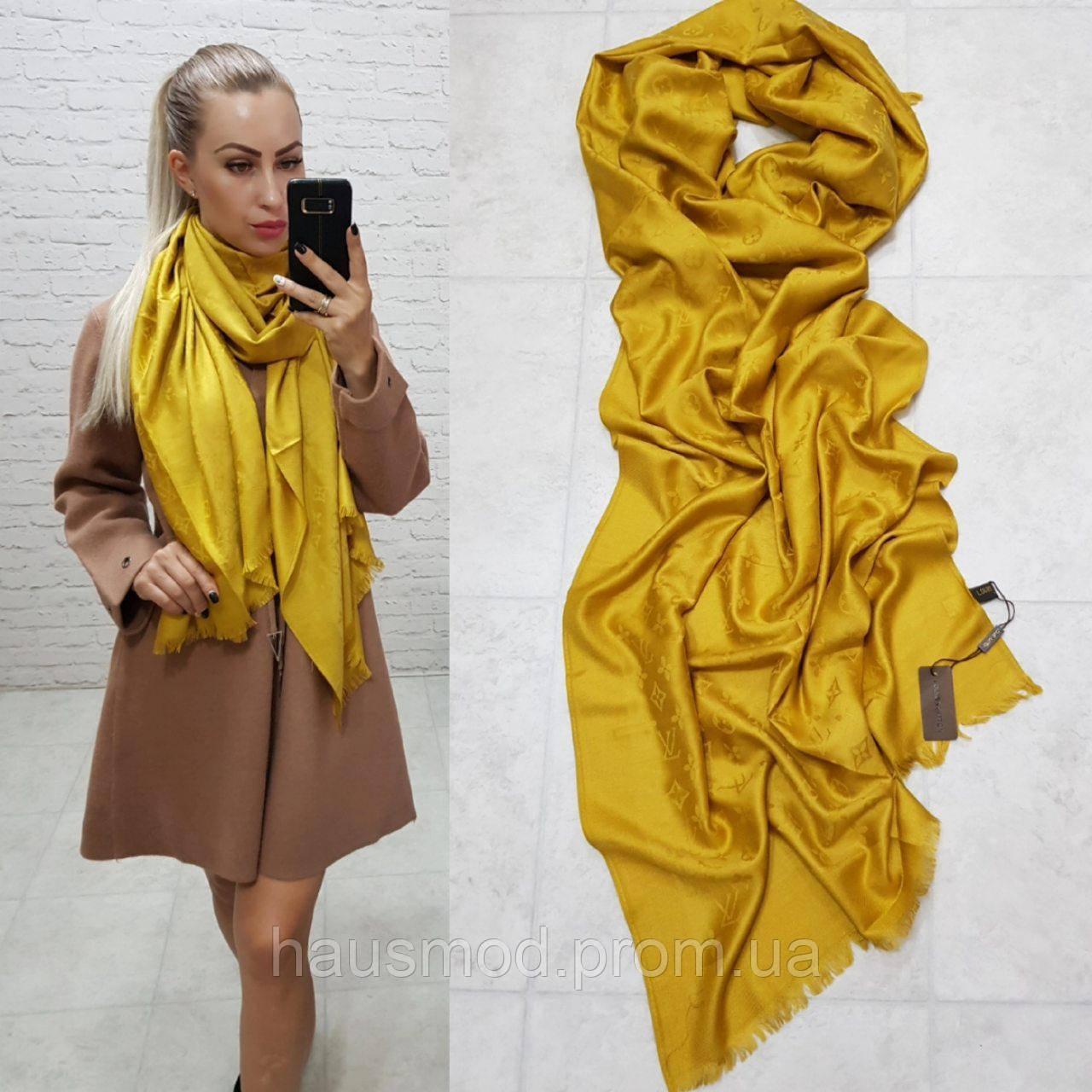 Женский палантин шарф брендовый репликаLouis Vuitton65% шелк 35% кашемир размер 190×0.70 см цвет горчица