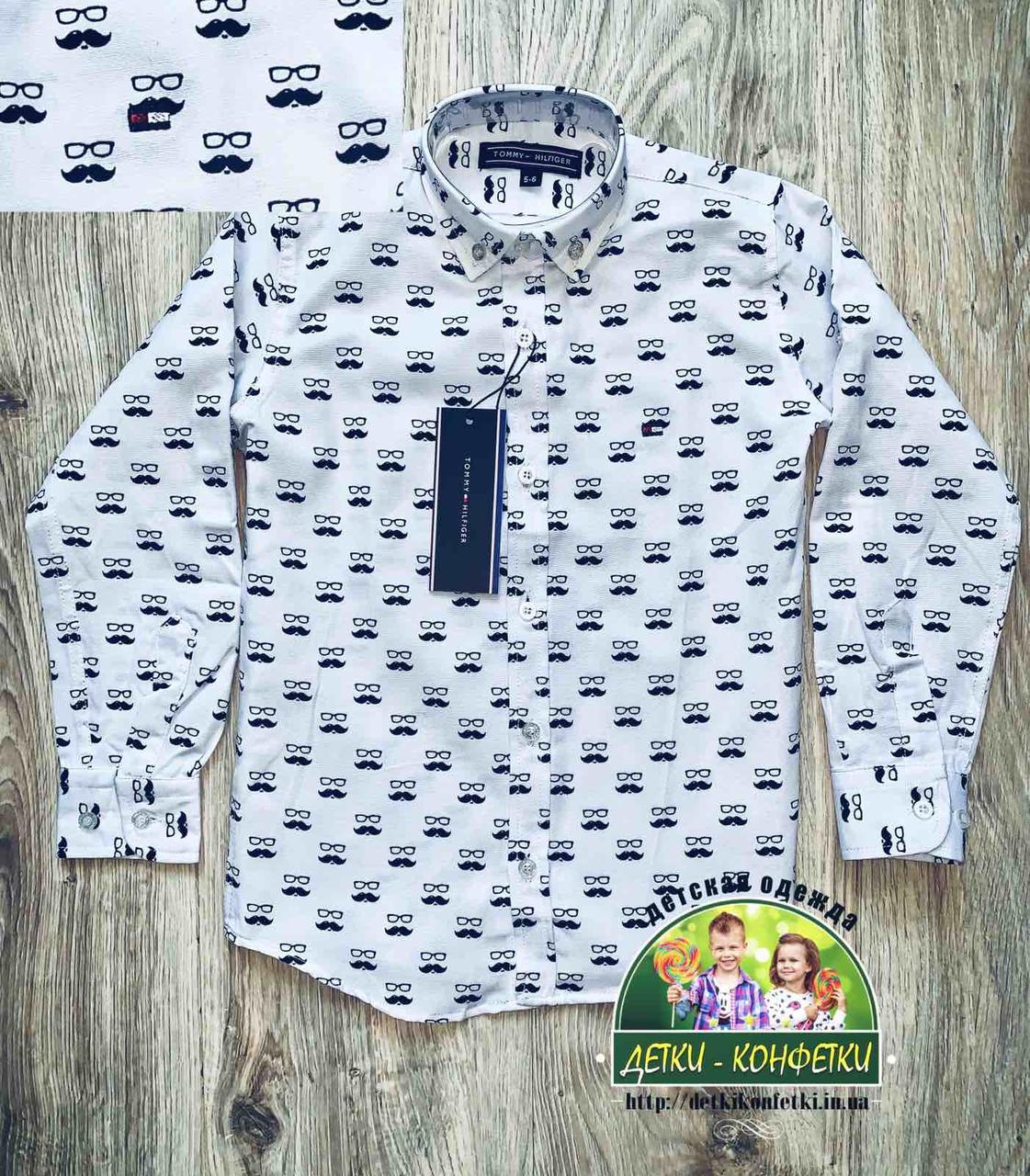 Белая стильная рубашка с длинным рукавом для мальчика 5-6 лет