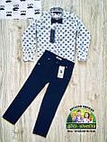 Белая стильная рубашка с длинным рукавом для мальчика 5-6 лет, фото 2