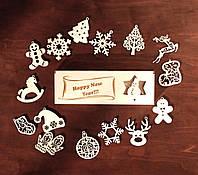 """Новогодний набор игрушек на елку """"Happy New Year"""" в деревянной упаковке. В наборе 15 разных игрушек из дерева."""