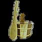 Зграя Greus сосна/кедр 4 л + черпак з пластиковою вставкою для лазні та сауни, фото 2