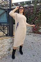 Женское ангоровое платье свободного кроя больших размеров с декоративным поясом