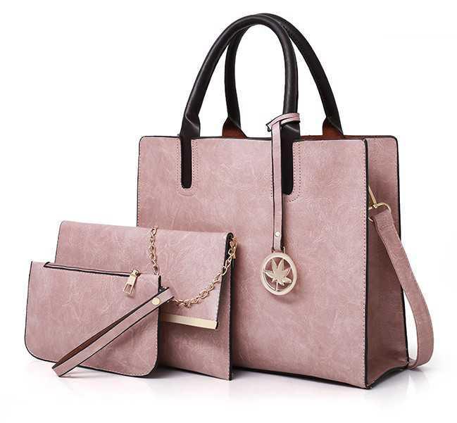 Набор женских сумок 3 предмета с брелком розового цвета BA-2