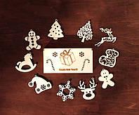 """Коробка с новогодними игрушками из дерева """"З Новим Роком"""" 10 игрушек"""