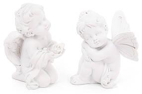Декоративная статуэтка Ангел, 8см, 2 вида, цвет - матовый белый, полистоун, в упаковке 12шт. (887-110)