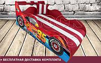 Кровать машина Тачки Шок со встроенным матрасом и мягким изголовьем, подушка в подарок! Бесплатная доставка комплекта по Украине!