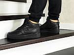 Мужские кроссовки Nike Air Force (черные) ЗИМА, фото 3