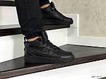 Мужские кроссовки Nike Air Force (черные) ЗИМА, фото 4