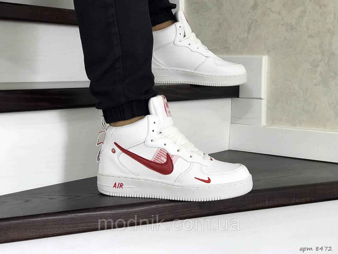 Мужские кроссовки Nike Air Force (бело-красные) ЗИМА