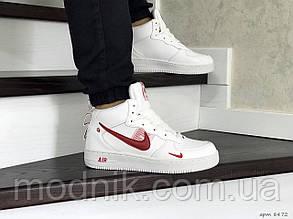 Чоловічі кросівки Nike Air Force (біло-червоні) ЗИМА