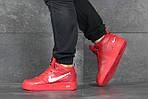 Мужские кроссовки Nike Air Force (красные) ЗИМА, фото 3