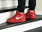Мужские кроссовки Nike Air Force (красные) ЗИМА, фото 4