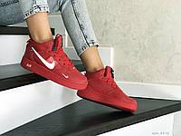 Женские кроссовки Nike Air Force (красные) ЗИМА