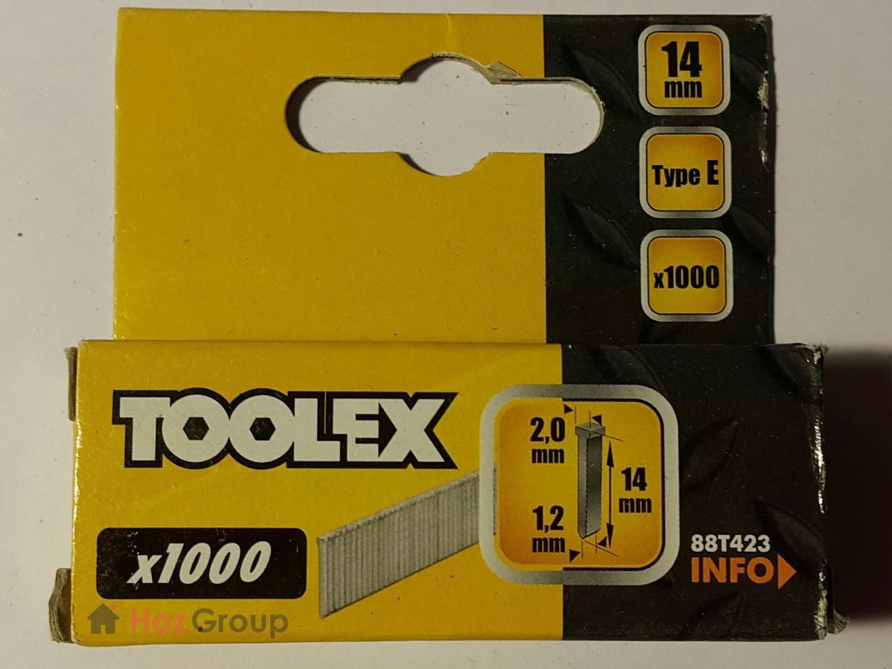 Гвозди для профессионального степлера 2.0*1.2*14мм Toolex