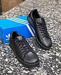 Мужские кроссовки Adidas Stan Smith (черные), фото 6