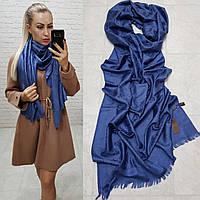 Женский палантин шарф брендовый репликаLouis Vuitton65% шелк 35% кашемир размер 190×0.70 см цвет синий джинс, фото 1
