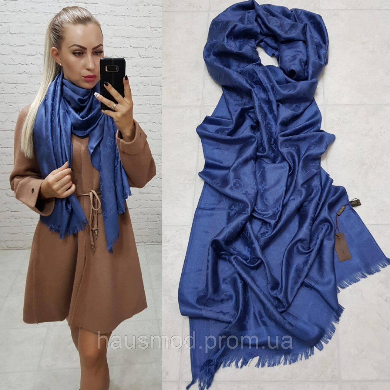 Женский палантин шарф брендовый репликаLouis Vuitton65% шелк 35% кашемир размер 190×0.70 см цвет синий джинс