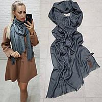 Женский палантин шарф брендовый репликаLouis Vuitton65% шелк 35% кашемир размер 190×0.70 см цвет графит, фото 1