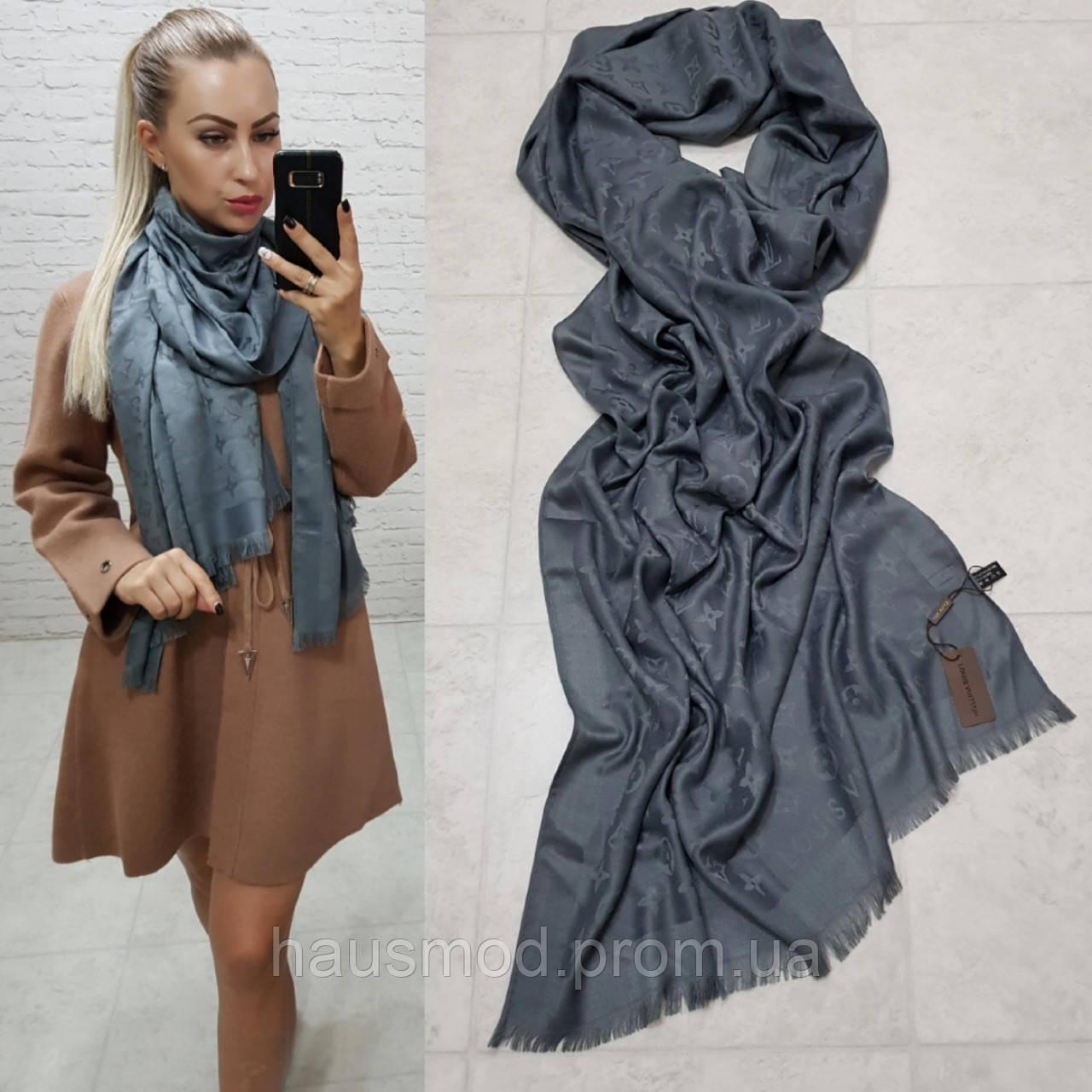 Женский палантин шарф брендовый репликаLouis Vuitton65% шелк 35% кашемир размер 190×0.70 см цвет графит