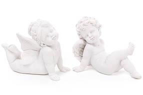 Декоративная статуэтка Ангел, 8см, 2 вида, цвет - матовый белый, полистоун, в упаковке 12шт. (887-111)
