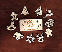 """Новогодний набор игрушек на елку """"З новим Роком"""" в деревянной упаковке. В наборе 10 разных игрушек из дерева."""