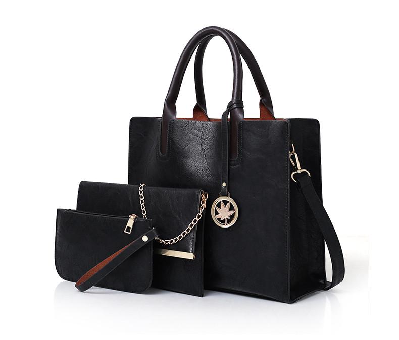Набор женских сумок 3 предмета с брелком чёрного цвета BA-4