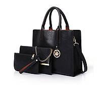 Набор женских сумок 3 предмета с брелком чёрного цвета 01189