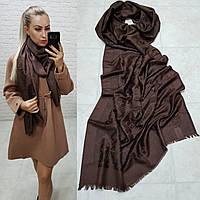 Женский палантин шарф брендовый репликаLouis Vuitton65% шелк 35% кашемир размер 190×0.70 см цвет коричневый, фото 1