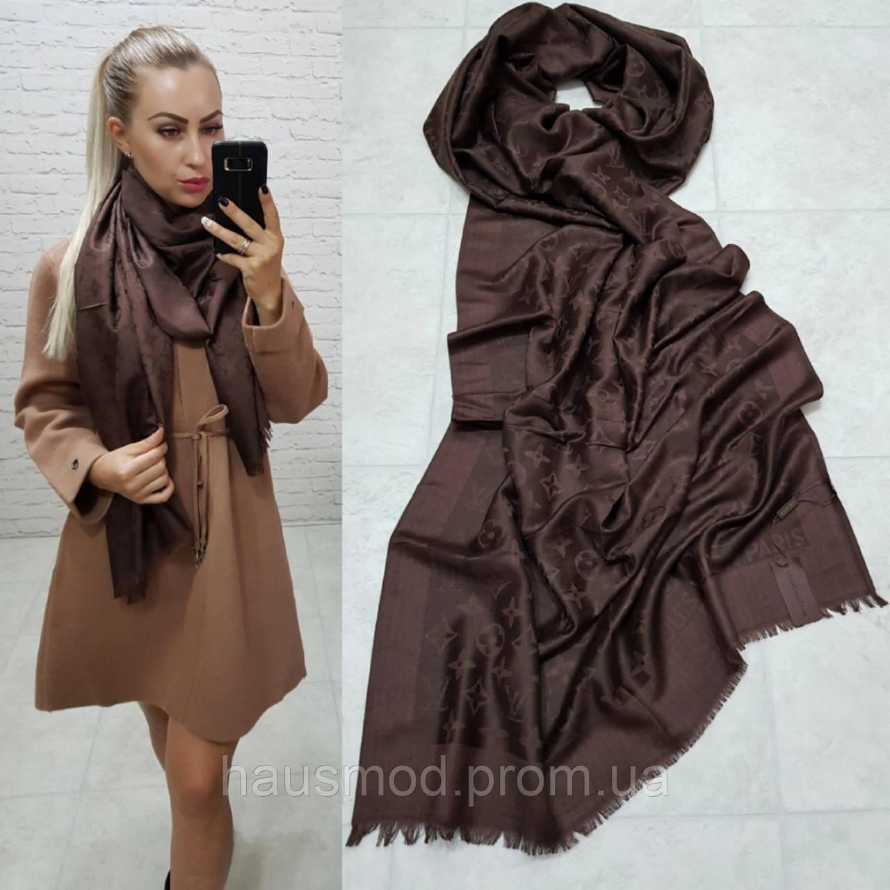 Женский палантин шарф брендовый репликаLouis Vuitton65% шелк 35% кашемир размер 190×0.70 см цвет коричневый