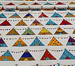 Отрез ткани  с разноцветными вигвамами с флажками  на белом фоне, № 903а размер 95*160, фото 2