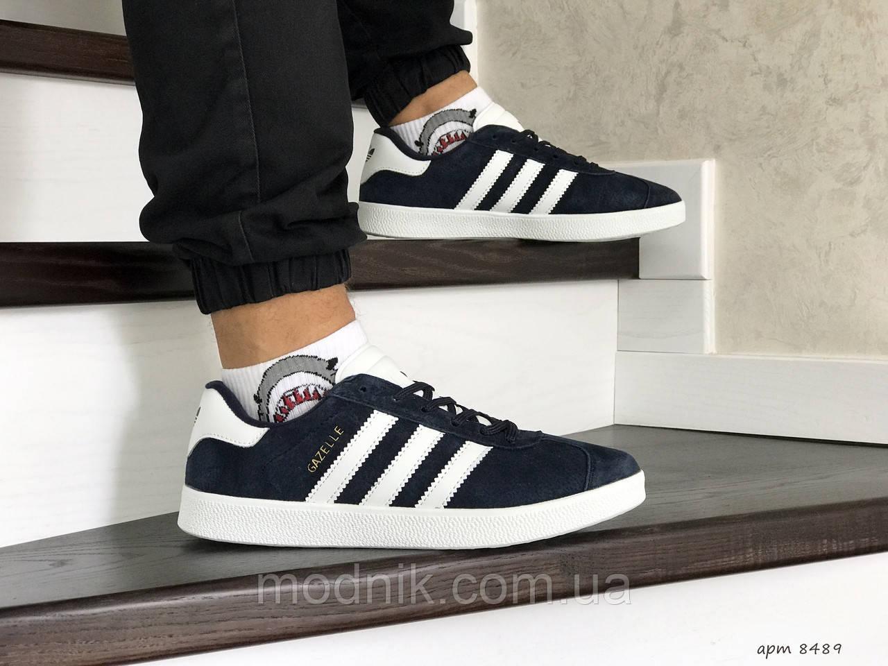 Мужские кроссовки Adidas Gazelle (сине-белые)