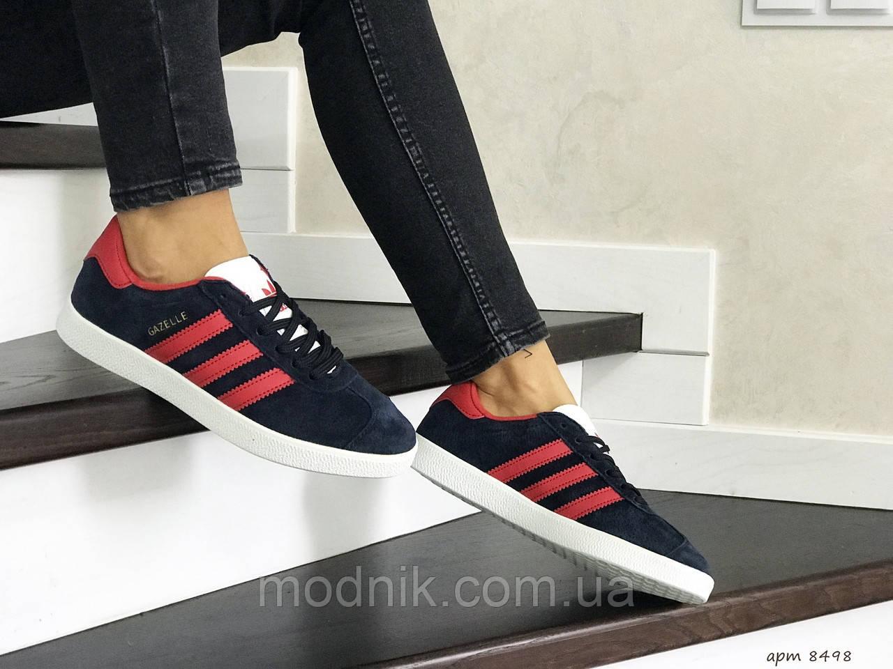 Женские кроссовки Adidas Gazelle (сине-красные)