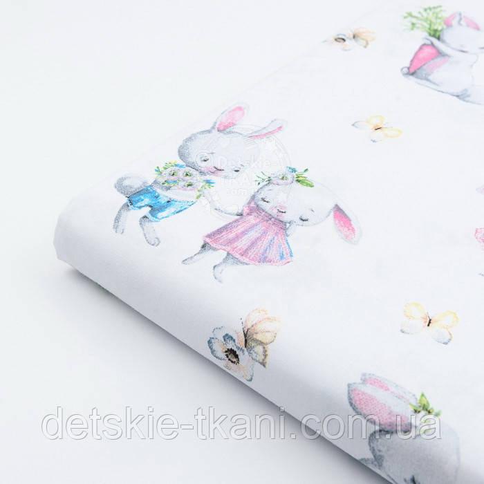 """Лоскут ткани  """"Кролики с морковкой и книжкой"""" на белом фоне №2393, размер 41*80 см"""