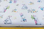 """Лоскут ткани  """"Кролики с морковкой и книжкой"""" на белом фоне №2393, размер 41*80 см, фото 3"""