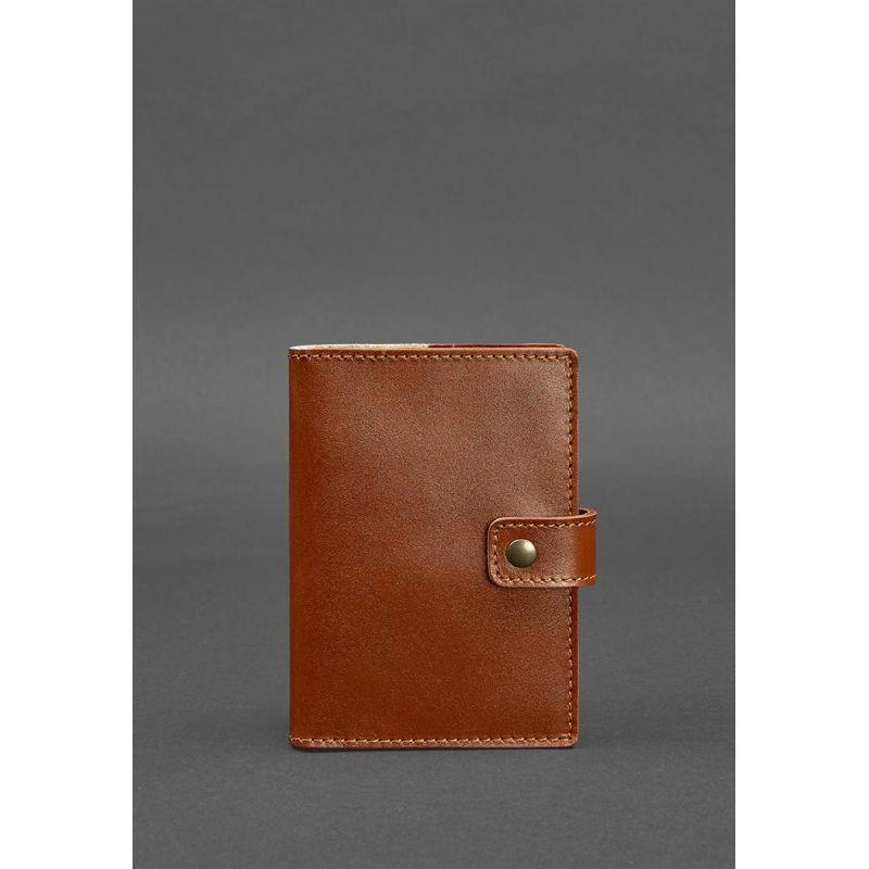 Шкіряна обкладинка для паспорта 5.0 (з віконцем) світло-коричнева
