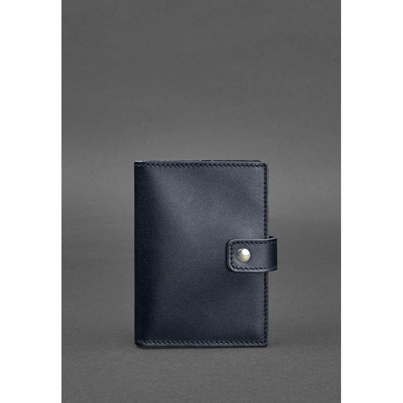 Кожаная обложка для паспорта 5.0 (с окошком) темно-синяя Краст