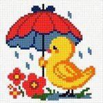 Схема для вышивания нитками №1266 Цыпленок под дождем