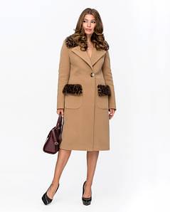 Женское зимнее шерстяное пальто с леопардовым мехом 42-52 р