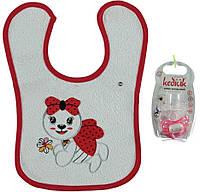 Набор (соска, слюнявчик) для ребёнка/девочка 95%хлопок 5%эластан Красный Kedicik все размеры  0-12м