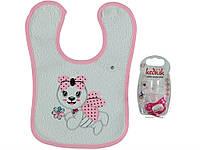 Набор (соска, слюнявчик) для ребёнка/девочка 95%хлопок 5%эластан Розовый Kedicik все размеры  0-12м