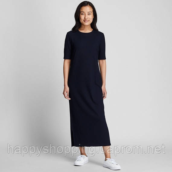 Женское темно-синее миди платье Uniqlo