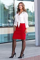 Вязаная юбка «Миледи» миди красная