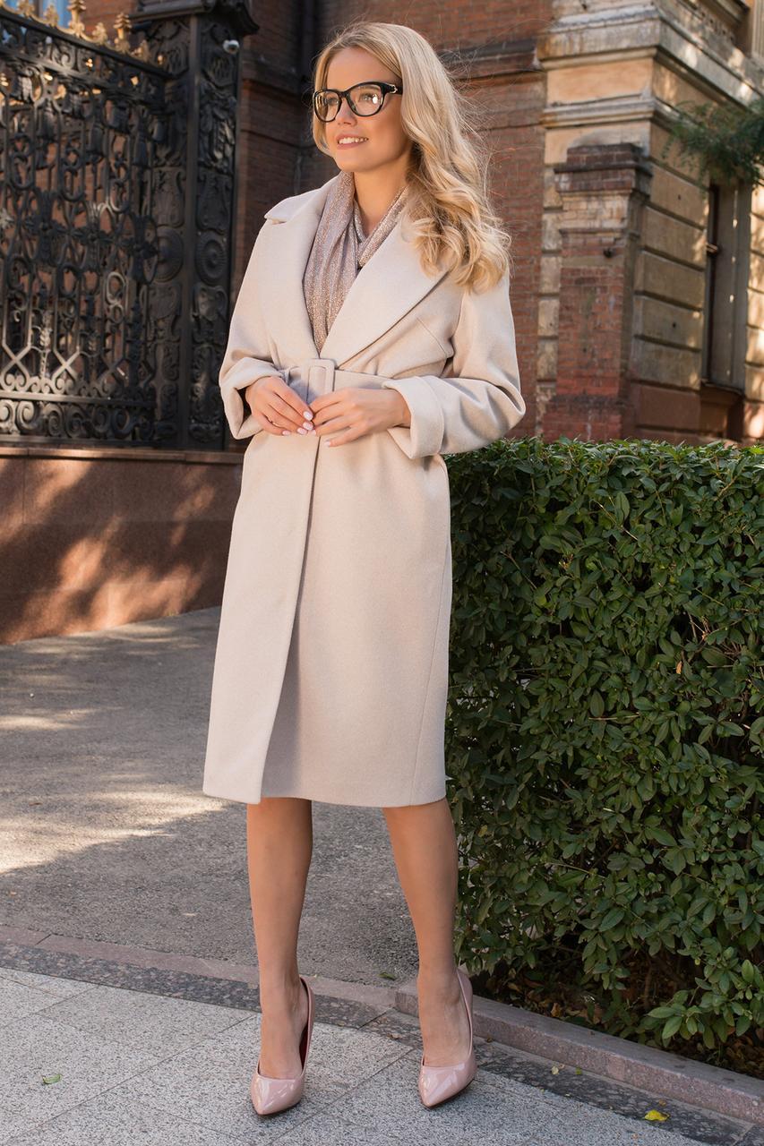 Женское осеннее пальто бежевое (р. S, M, L) арт. С-80-30/43985