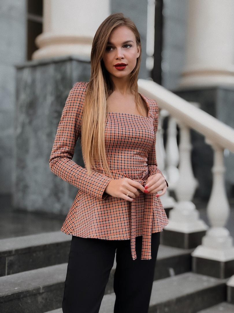 Женская кофта баска Кирпичный