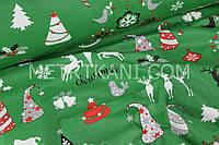 """Новогодняя ткань  """"Олени с  новогодними игрушками """" на зеленом фоне № 740"""